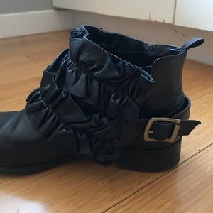 Two Leather Ruffle Boot Accessories